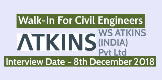 Walk-In For Civil Engineers 8th Dec WS ATKINS (INDIA) Pvt Ltd Bangalore