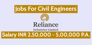 Jobs For Civil Engineers Reliance Industries Ltd Openings 30 INR 2,50,000 - 5,00,000 P.A.