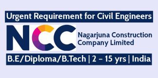 NCC Limited Urgent Requirement for Civil Engineers 2 – 15 yrs India