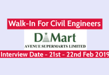 Avenue Supermarts Ltd Walk-In For Civil Engineers @ 21st - 22nd Feb 2019 Salary INR 3,00,000 - 8,00,000 P.A.