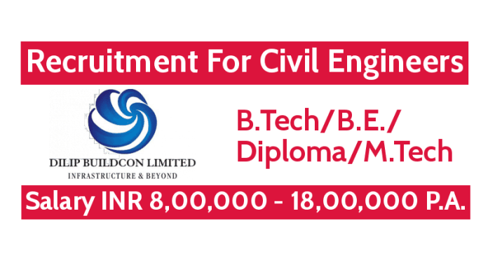 Dilip Buildcon Ltd Recruitment For B.TechB.E.DiplomaM.Tech Civil Engineers Salary INR 8,00,000 - 18,00,000 P.A.