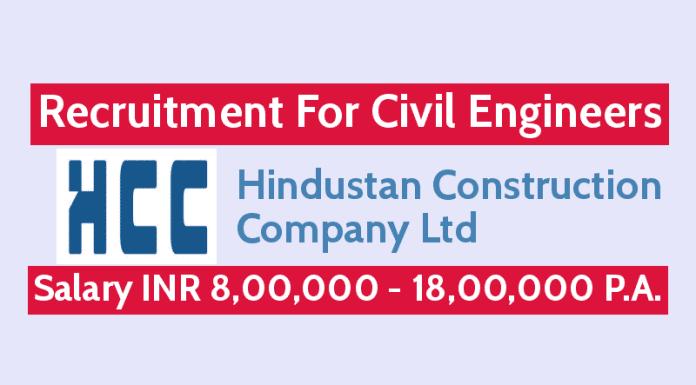 Hiring Civil Engineers Hindustan Construction Company Ltd INR 8,00,000 - 18,00,000 P.A.