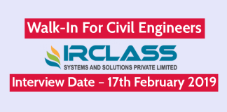 IRCLASS Systems & Solutions Pvt Ltd Walk-In For Civil Engineers Interview Date – 17th February 2019