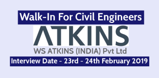 WS ATKINS (INDIA) Pvt Ltd Walk-In For Civil Engineers 23rd - 24th February