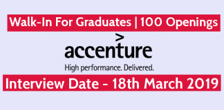 Accenture Walk-In For Graduates 100 Openings Interview Date - 18th March 2019