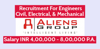 Aliens Group Hiring Engineers Civil, Electrical, & Mechanical Salary INR 4,00,000 - 8,00,000 P.A.