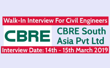 CBRE South Asia Pvt Ltd Walk-In For Civil Engineers Interview Date 14th - 15th March 2019