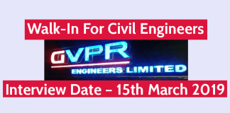GVPR Engineers Ltd Walk-In For Civil Engineers B.TechB.E.Diploma Interview Date – 15th March 2019