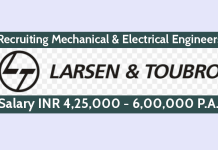 L&T Recruiting Mechanical & Electrical Engineers Salary INR 4,25,000 - 6,00,000 P.A.