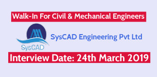 SysCAD Engineering Pvt Ltd Walk-In For Civil & Mechanical Engineers Interview Date 24th March 2019