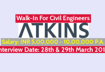 WS ATKINS (INDIA) Pvt Ltd Walk-In For Civil Engineers Interview Date 28th & 29th March 2019