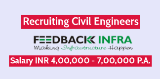 Feedback Infra Pvt Ltd Recruiting Civil Engineers Salary INR 4,00,000 - 7,00,000 P.A.