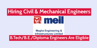 MEIL Hiring Civil & Mechanical Engineers B.TechB.E.Diploma Engineers Are Eligible