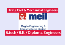 Megha Engineering and Infrastructures Ltd Hiring Civil & Mechanical Engineers Check & Apply Now