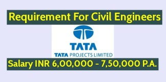 Tata Projects Ltd Requirement For Civil Engineers Salary INR 6,00,000 - 7,50,000 P.A.