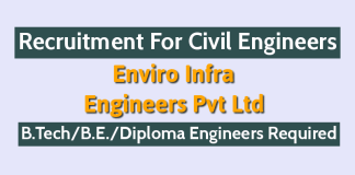Enviro Infra Engineers Pvt Ltd Recruitment For Civil Engineers B.TechB.E.Diploma Engineers Required