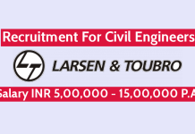 Larsen & Toubro Ltd Recruitment For Civil Engineers Salary INR 5,00,000 - 15,00,000 P.A.