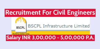 BSCPL Infrastructure Ltd Recruitment For Civil Engineers Salary INR 3,00,000 - 5,00,000 P.A.
