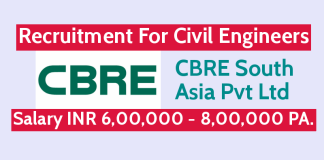 CBRE South Asia Pvt Ltd Recruitment For Civil Engineers Salary INR 6,00,000 - 8,00,000 PA.