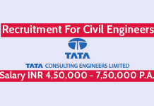 Tata Consulting Engineers Ltd Recruitment For Civil Engineers Salary INR 4,50,000 - 7,50,000 P.A.