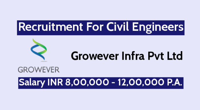 Growever Infra Pvt Ltd Recruitment For Civil Engineers Salary INR 8,00,000 - 12,00,000 P.A.