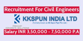 KK Spun India Ltd Recruitment For Civil Engineers Salary INR 3,50,000 - 7,50,000 P.A.