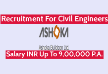 Ashoka Buildcon Ltd Recruitment For Civil Engineers Salary INR Up To 9,00,000 P.A.