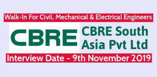 CBRE South Asia Pvt Ltd Walk-In For Civil, Mechanical & Electrical Engineers Interview Date - 9th November 2019