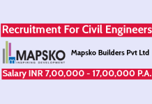 Mapsko Builders Pvt Ltd Recruitment For Civil Engineers Salary INR 7,00,000 - 17,00,000 P.A.