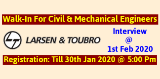 Larsen & Toubro Walk-In For Civil & Mechanical Engineers Interview Date 1st February 2020