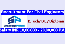 Shapoorji Pallonji Recruitment For Civil Engineers Salary INR 10,00,000 - 20,00,000 P.A.