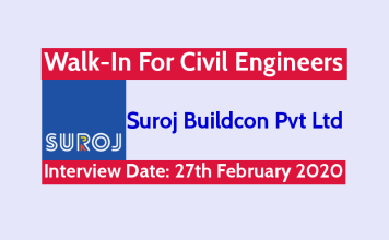 Suroj Buildcon Pvt Ltd Walk-In For Civil Engineers Interview Date 27th February 2020