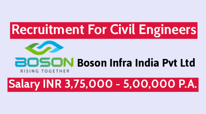 Boson Infra India Pvt Ltd Recruitment For Civil Engineers Salary INR 3,75,000 - 5,00,000 P.A.