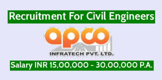 Apco Infratech Pvt Ltd Recruitment For Civil Engineers Salary INR 15,00,000 - 30,00,000 P.A.