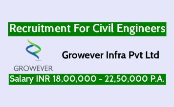 Growever Infra Pvt Ltd Recruitment For Civil Engineers Salary INR 18,00,000 - 22,50,000 P.A.