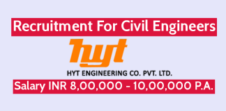 HYT Engineering Company Pvt Ltd Recruitment For Civil Engineers Salary INR 8,00,000 - 10,00,000 P.A.