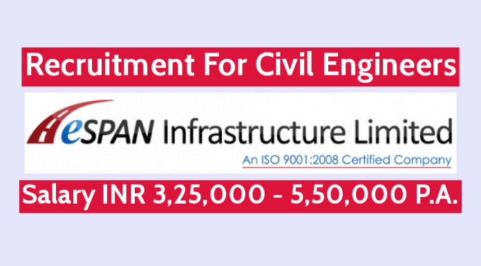 ESPAN Infrastructure (I) Ltd Recruitment For Civil Engineers Salary INR 3,25,000 - 5,50,000 P.A.