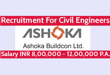 Ashoka Buildcon Ltd Recruitment For Civil Engineers Salary INR 8,00,000 - 12,00,000 P.A.