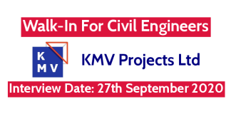 KMV Projects Ltd Walk-In For Civil Engineers Interview Date 27th September 2020