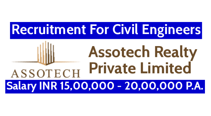 Assotech Realty Pvt Ltd Recruitment For Civil Engineers Salary INR 15,00,000 - 20,00,000 P.A.