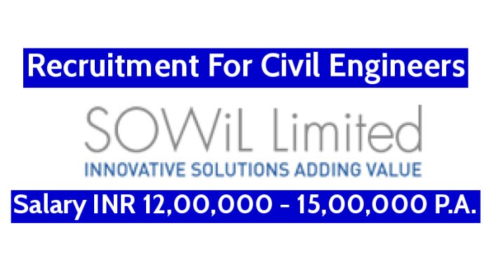 SOWiL Limited Recruitment For Civil Engineers Salary INR 12,00,000 - 15,00,000 P.A.