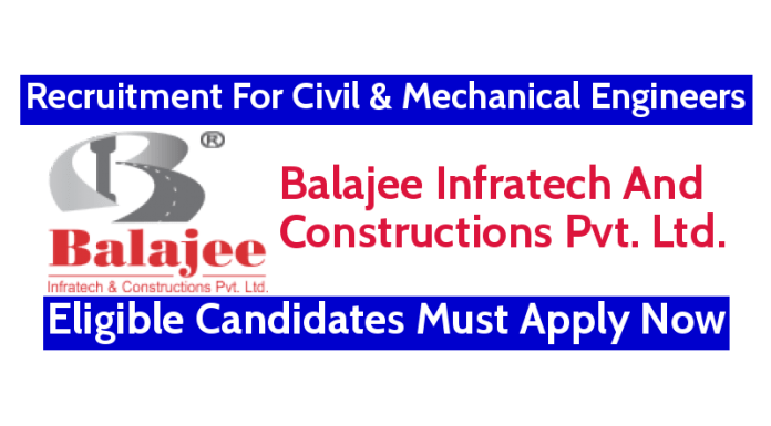 Balajee Infratech Recruitment For Civil & Mechanical Engineers Eligible Candidates Must Apply Now