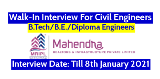 Mahendra Realtors & Infrastructure Pvt Ltd Walk-In For Civil Engineers Interview Date Till 8th January 2021