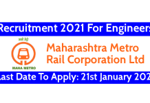 MAHA Metro Recruitment 2021 For Engineers Last Date To Apply 16th March 2021