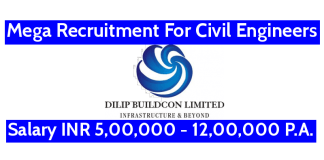 Dilip Buildcon Ltd Mega Recruitment For Civil Engineers Salary INR 5,00,000 - 12,00,000 P.A.