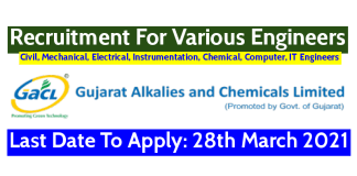 GACL Recruitment For Various Engineers Last Date To Apply 28th March 2021