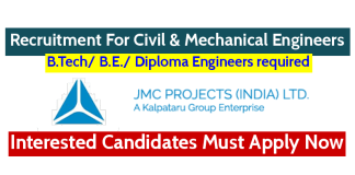 JMC Projects (India) Ltd Recruitment For Civil & Mechanical Engineers Interested Candidates Must Apply Now