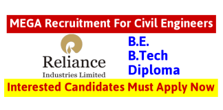 Reliance Industries Ltd MEGA Recruitment For Civil Engineers Interested Candidates Must Apply Now