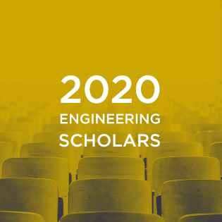 "The words ""2020 engineering scholars"" over a background of chairs in a classroom"