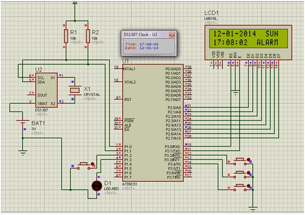Real Time Clock With Alarm Option Using AT89S52 And DS1307 IC